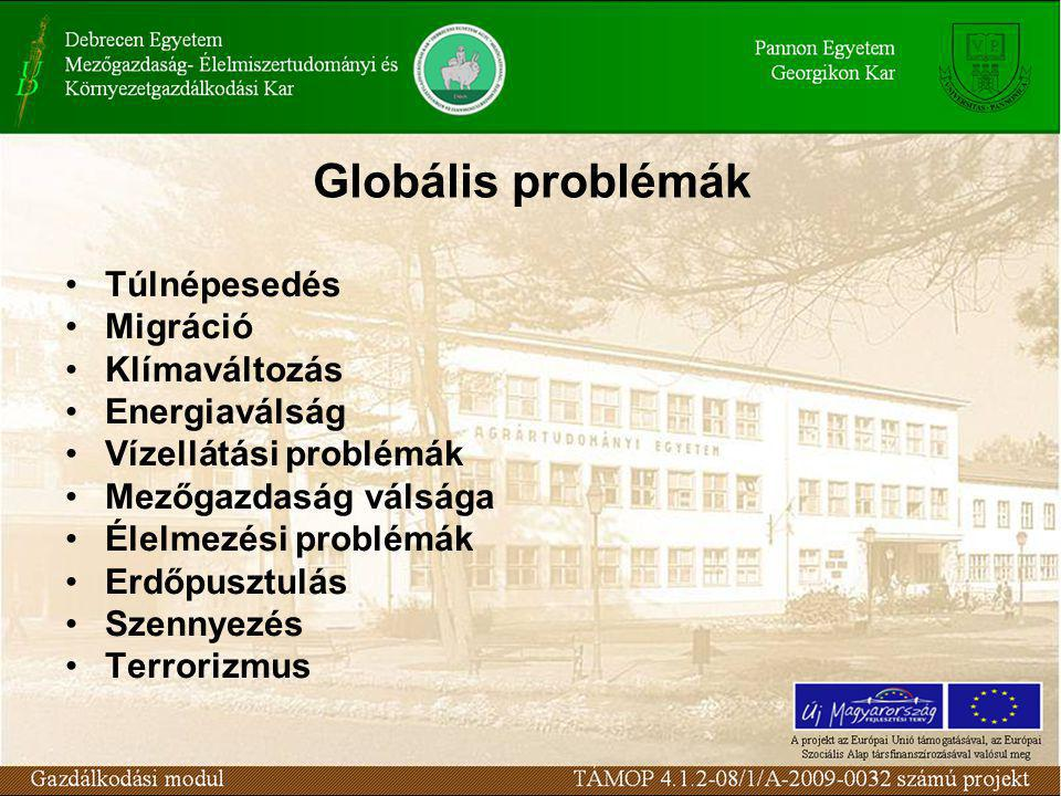 Globális problémák Túlnépesedés Migráció Klímaváltozás Energiaválság