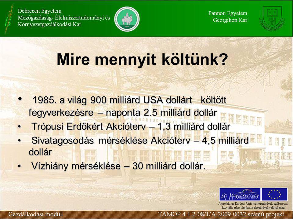 Mire mennyit költünk 1985. a világ 900 milliárd USA dollárt költött fegyverkezésre – naponta 2.5 milliárd dollár.
