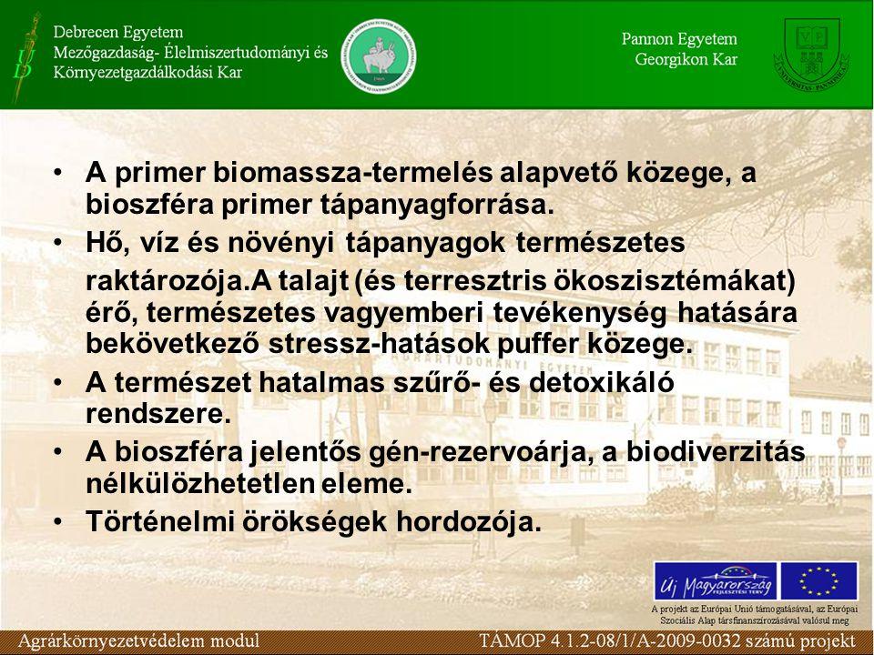 A primer biomassza-termelés alapvető közege, a bioszféra primer tápanyagforrása.