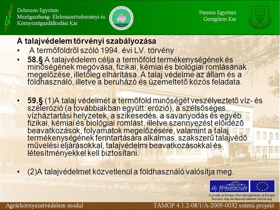 A talajvédelem törvényi szabályozása