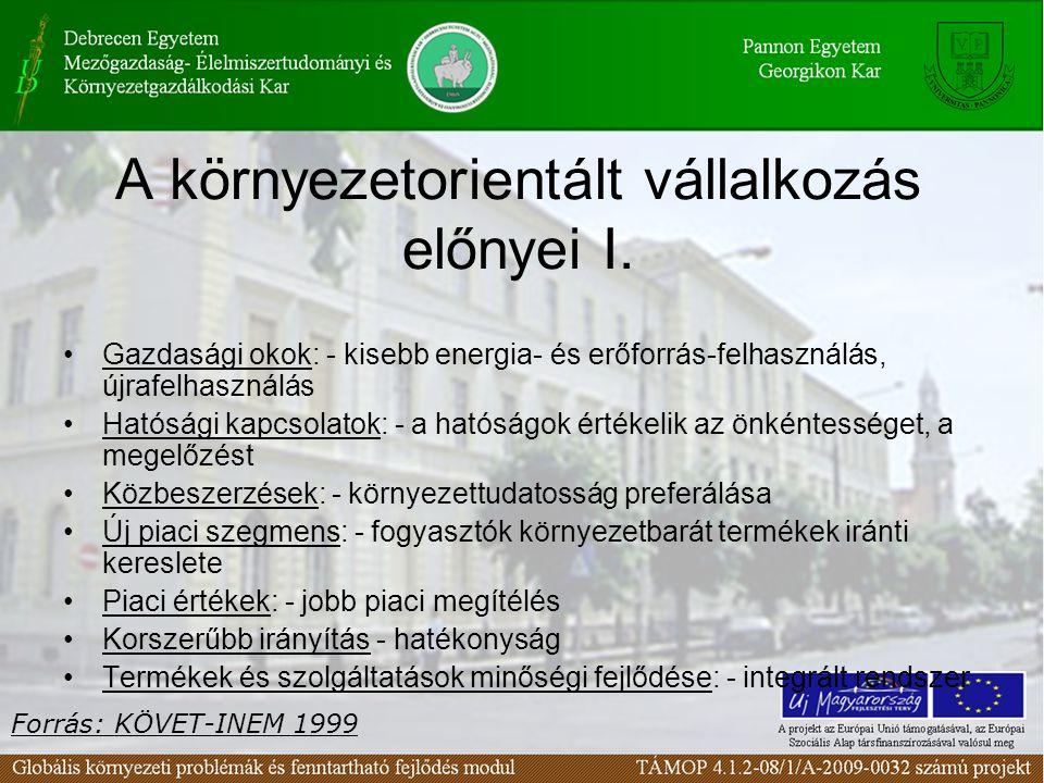 A környezetorientált vállalkozás előnyei I.