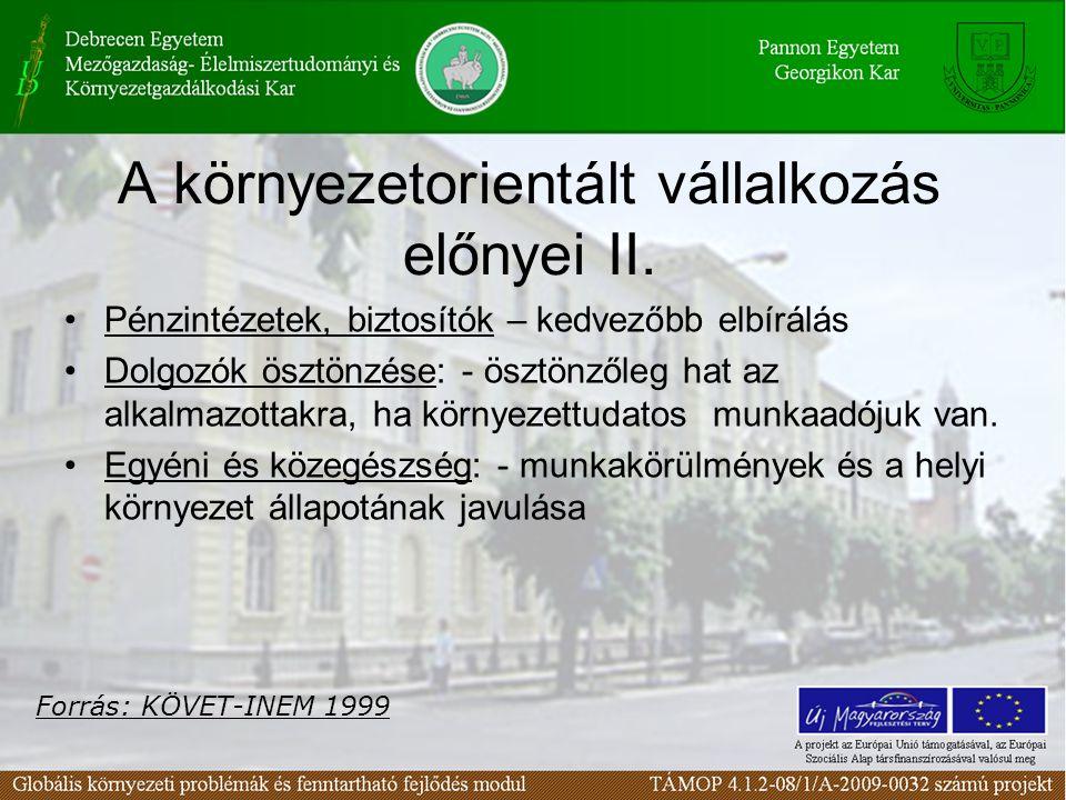 A környezetorientált vállalkozás előnyei II.