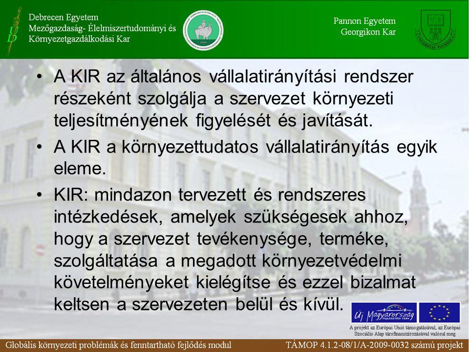 A KIR az általános vállalatirányítási rendszer részeként szolgálja a szervezet környezeti teljesítményének figyelését és javítását.
