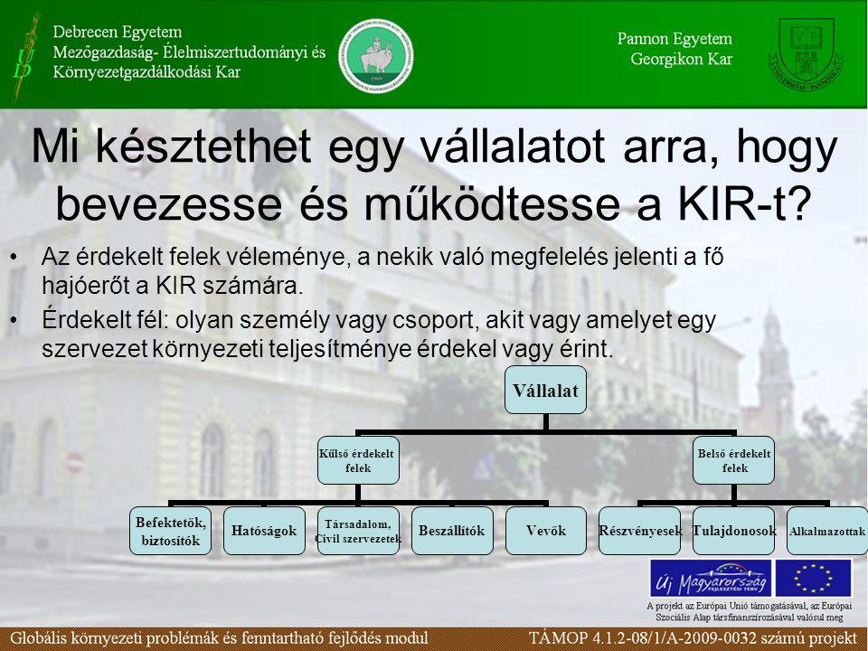 Mi késztethet egy vállalatot arra, hogy bevezesse és működtesse a KIR-t