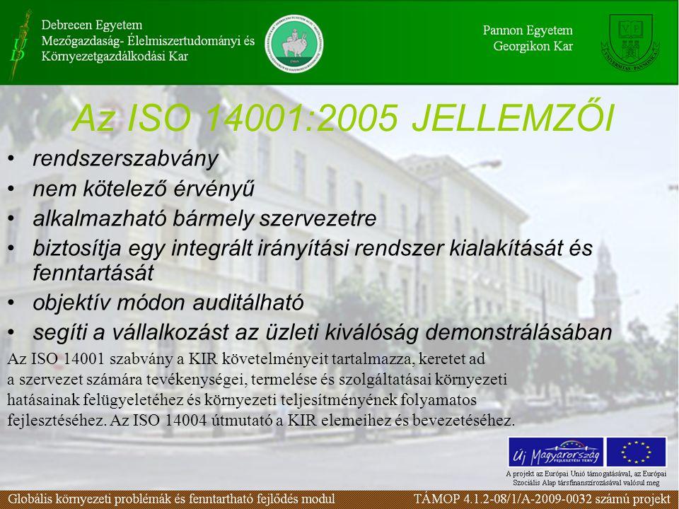 Az ISO 14001:2005 JELLEMZŐI rendszerszabvány nem kötelező érvényű
