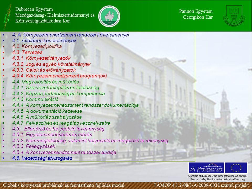 4. A környezetmenedzsment rendszer követelményei