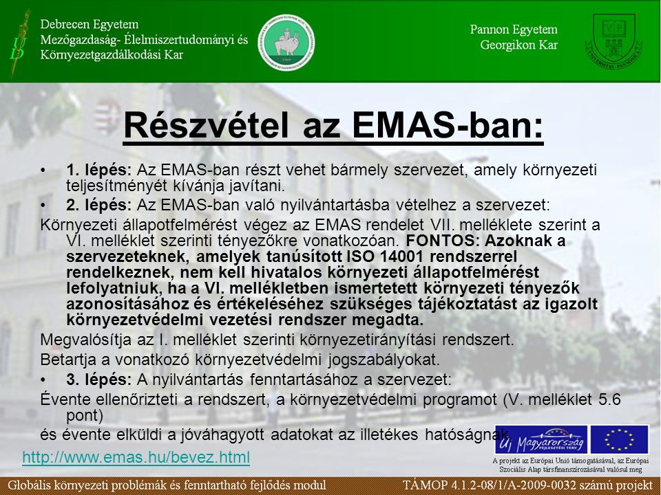 Részvétel az EMAS-ban: