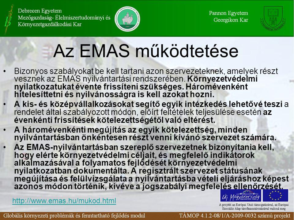 Az EMAS működtetése