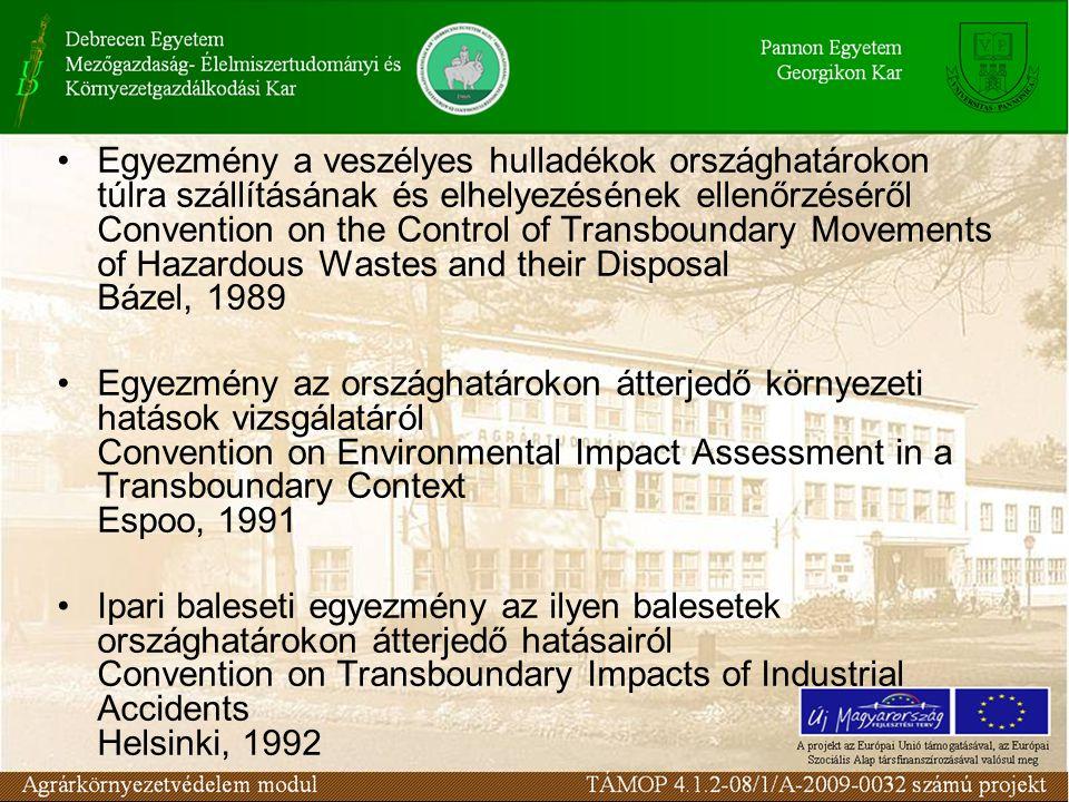 Egyezmény a veszélyes hulladékok országhatárokon túlra szállításának és elhelyezésének ellenőrzéséről Convention on the Control of Transboundary Movements of Hazardous Wastes and their Disposal Bázel, 1989