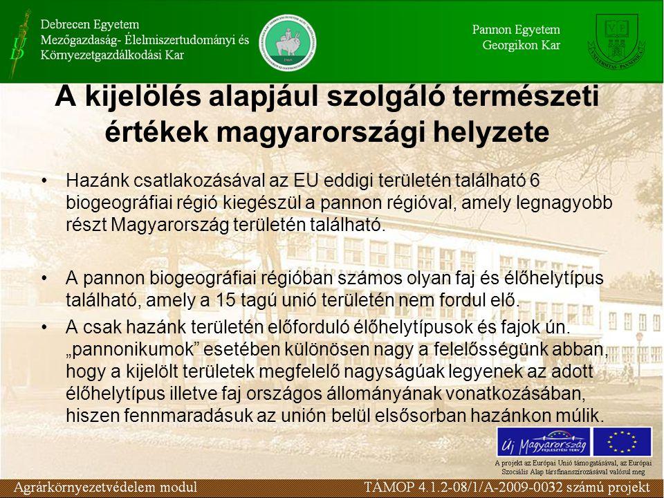 A kijelölés alapjául szolgáló természeti értékek magyarországi helyzete