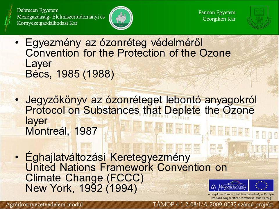 Egyezmény az ózonréteg védelméről Convention for the Protection of the Ozone Layer Bécs, 1985 (1988)