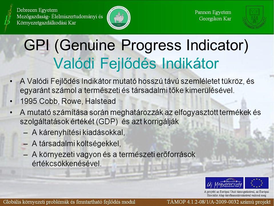 GPI (Genuine Progress Indicator) Valódi Fejlődés Indikátor