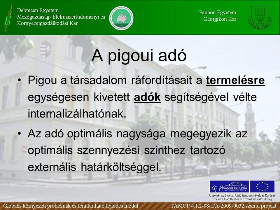 A pigoui adó Pigou a társadalom ráfordításait a termelésre egységesen kivetett adók segítségével vélte internalizálhatónak.