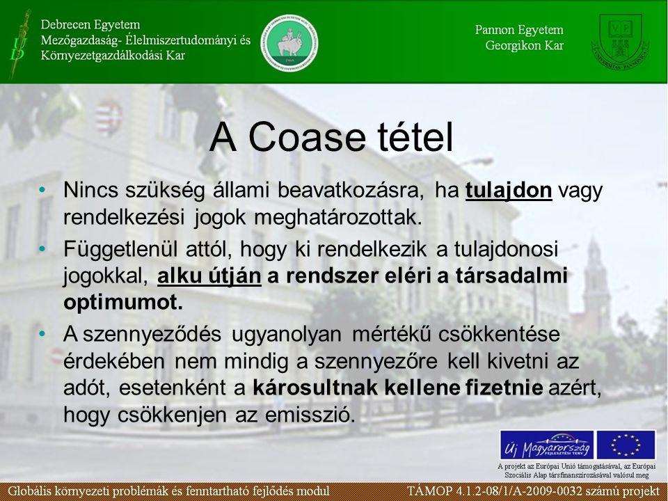 A Coase tétel Nincs szükség állami beavatkozásra, ha tulajdon vagy rendelkezési jogok meghatározottak.