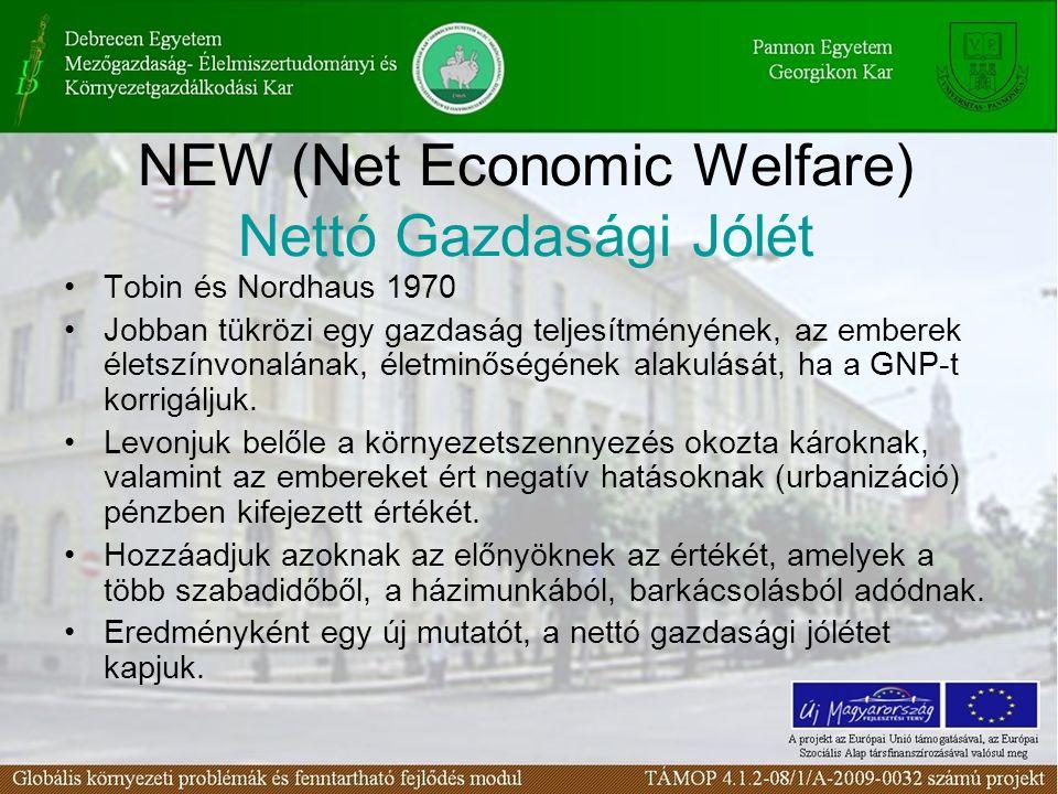 NEW (Net Economic Welfare) Nettó Gazdasági Jólét
