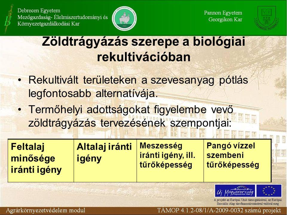 Zöldtrágyázás szerepe a biológiai rekultivációban