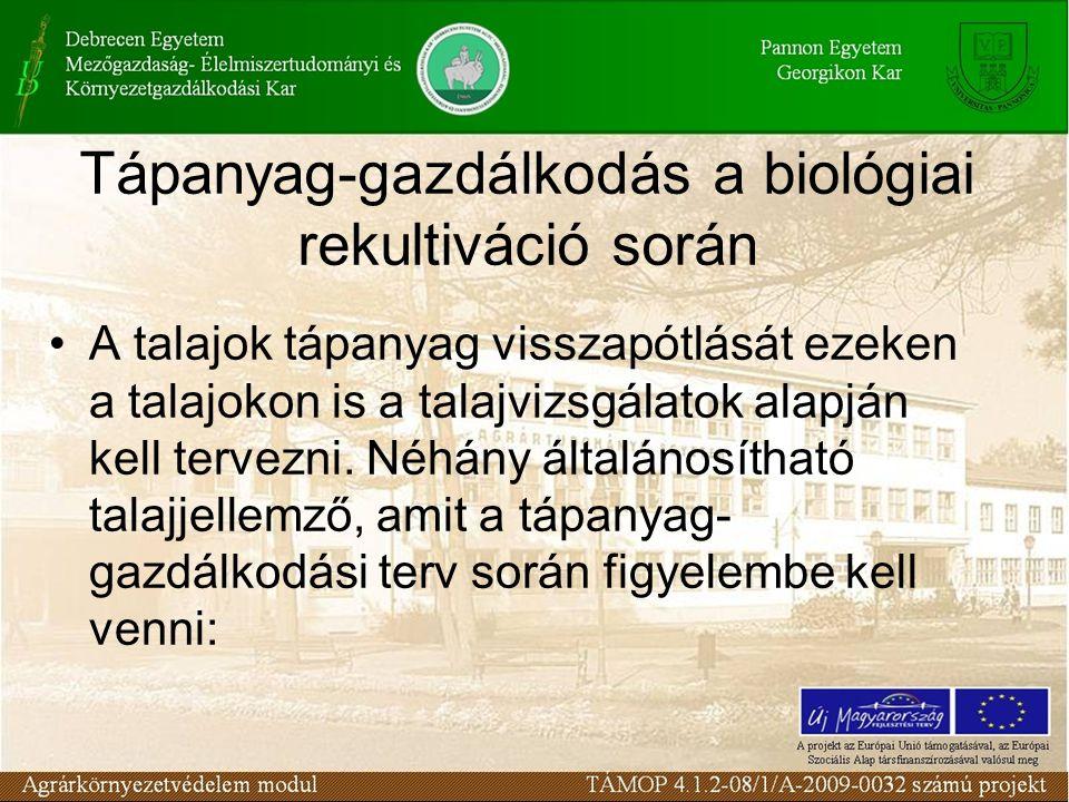 Tápanyag-gazdálkodás a biológiai rekultiváció során