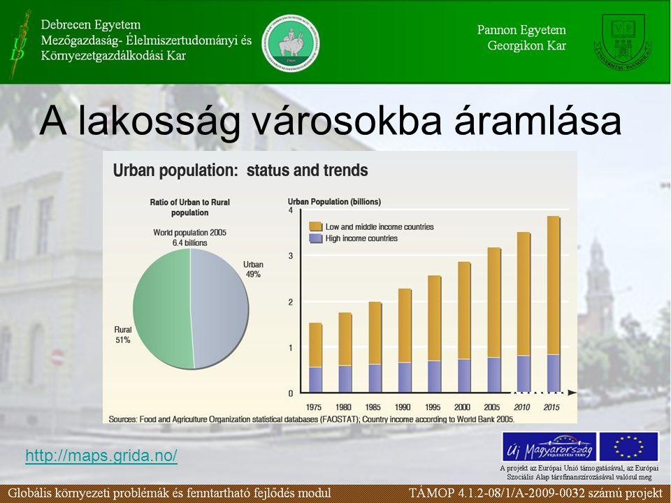 A lakosság városokba áramlása