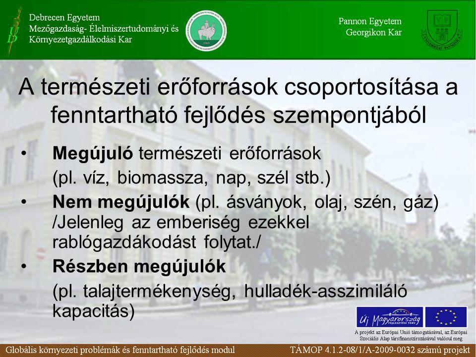 A természeti erőforrások csoportosítása a fenntartható fejlődés szempontjából
