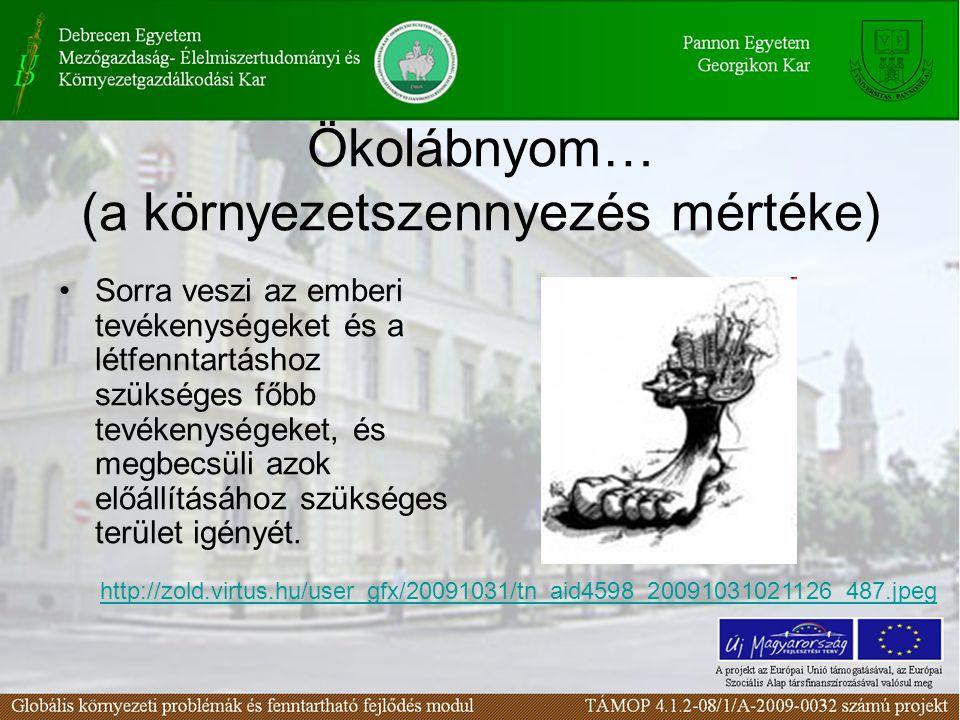 Ökolábnyom… (a környezetszennyezés mértéke)