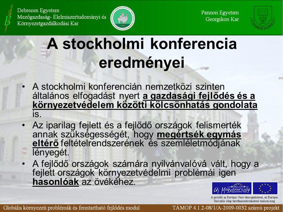 A stockholmi konferencia eredményei