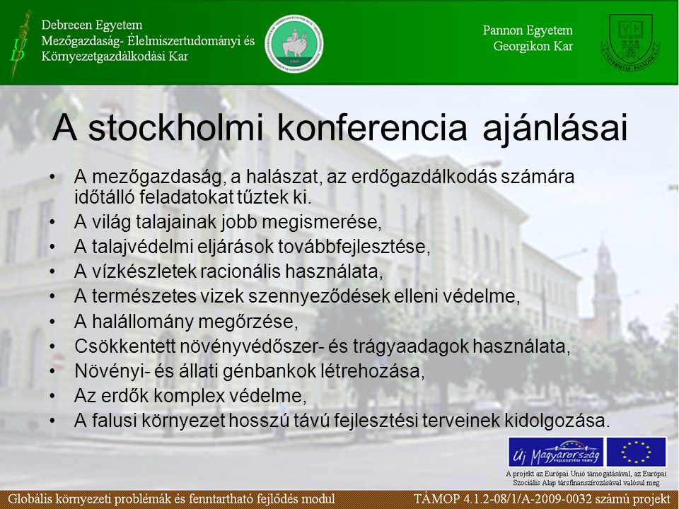 A stockholmi konferencia ajánlásai