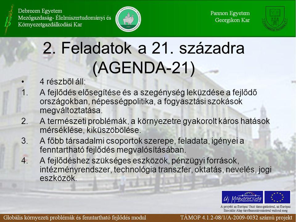 2. Feladatok a 21. századra (AGENDA-21)