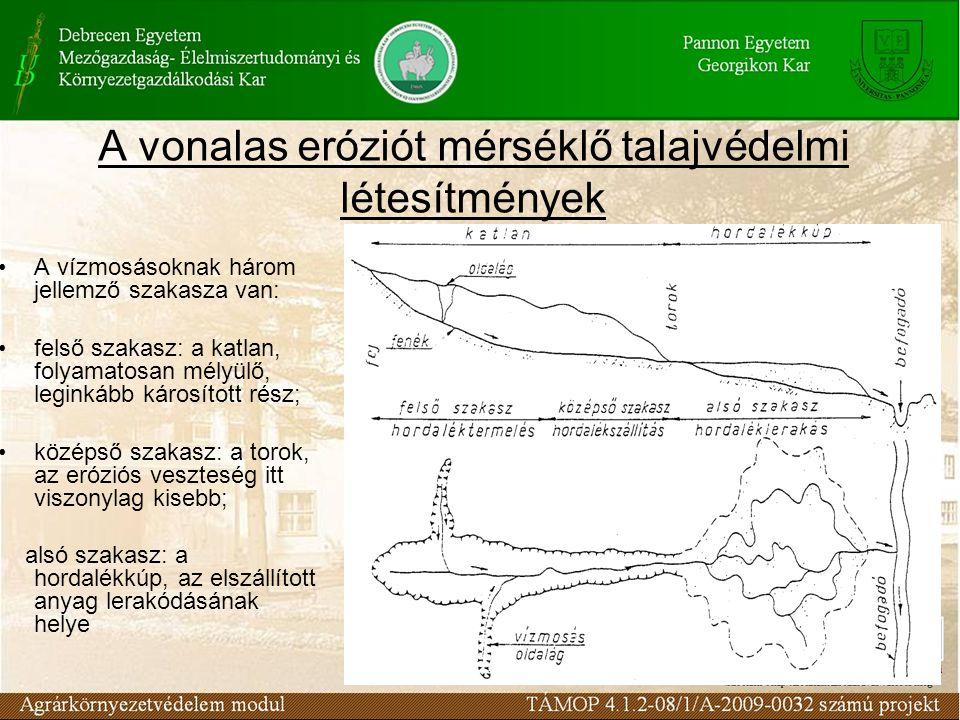 A vonalas eróziót mérséklő talajvédelmi létesítmények