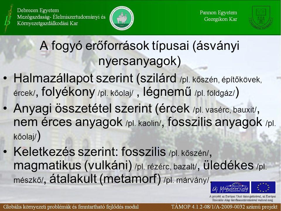 A fogyó erőforrások típusai (ásványi nyersanyagok)