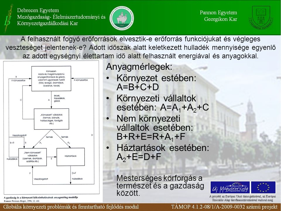 Környezet estében: A=B+C+D Környezeti vállaltok esetében: A=A1+A2+C