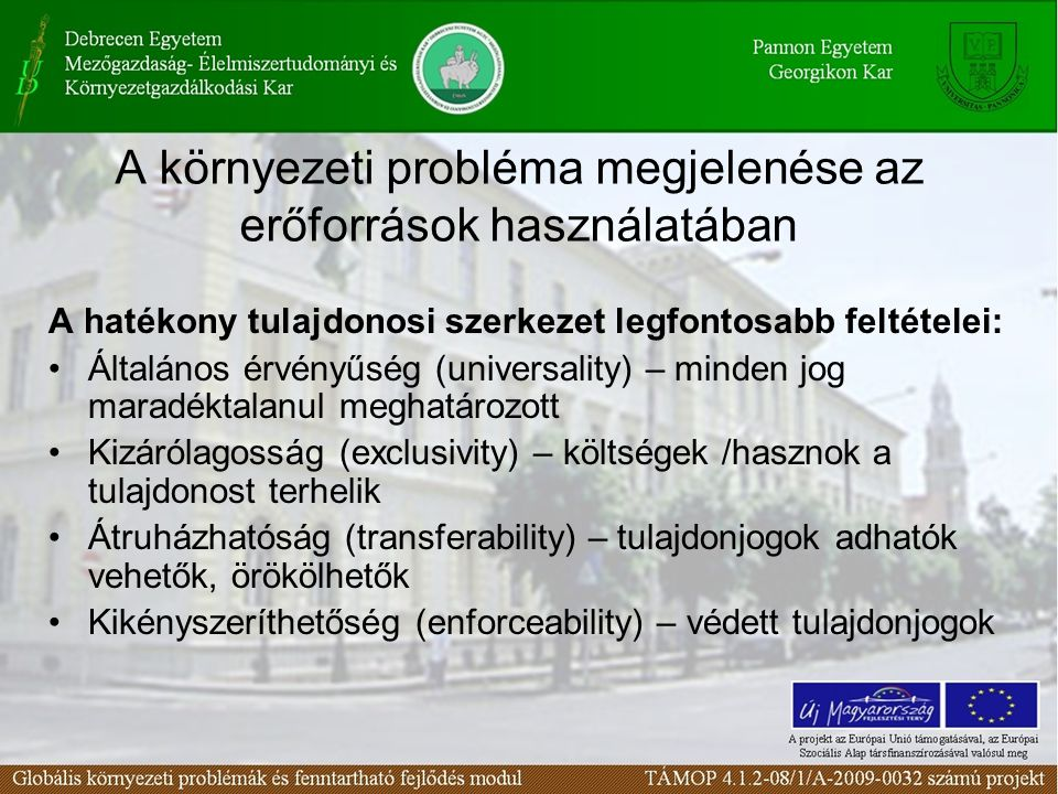 A környezeti probléma megjelenése az erőforrások használatában