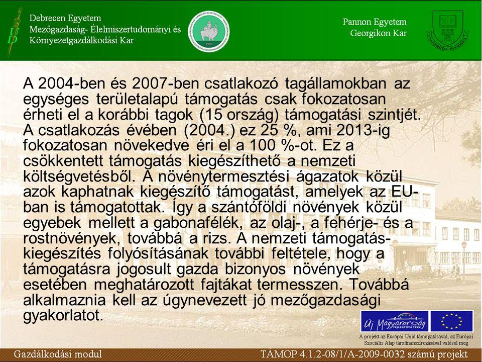 A 2004-ben és 2007-ben csatlakozó tagállamokban az egységes területalapú támogatás csak fokozatosan érheti el a korábbi tagok (15 ország) támogatási szintjét.