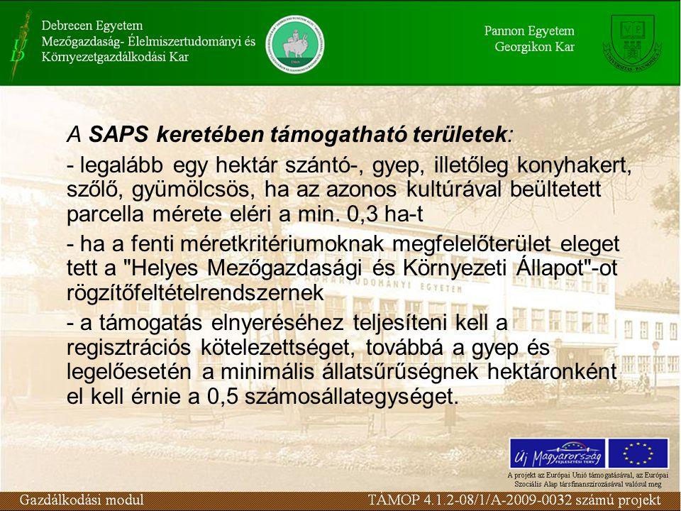 A SAPS keretében támogatható területek: