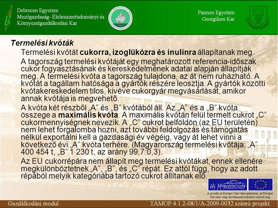 Termelési kvóták Termelési kvótát cukorra, izoglükózra és inulinra állapítanak meg.