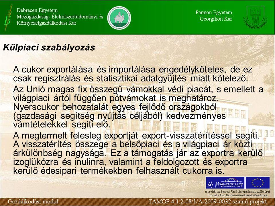 Külpiaci szabályozás A cukor exportálása és importálása engedélyköteles, de ez csak regisztrálás és statisztikai adatgyűjtés miatt kötelező.