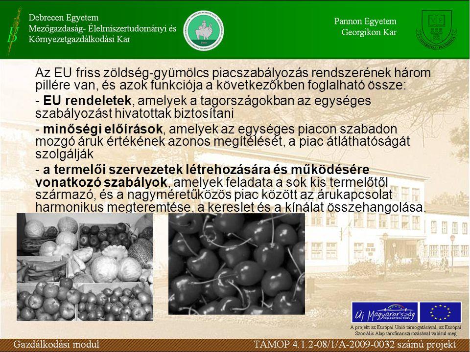 Az EU friss zöldség-gyümölcs piacszabályozás rendszerének három pillére van, és azok funkciója a következőkben foglalható össze: