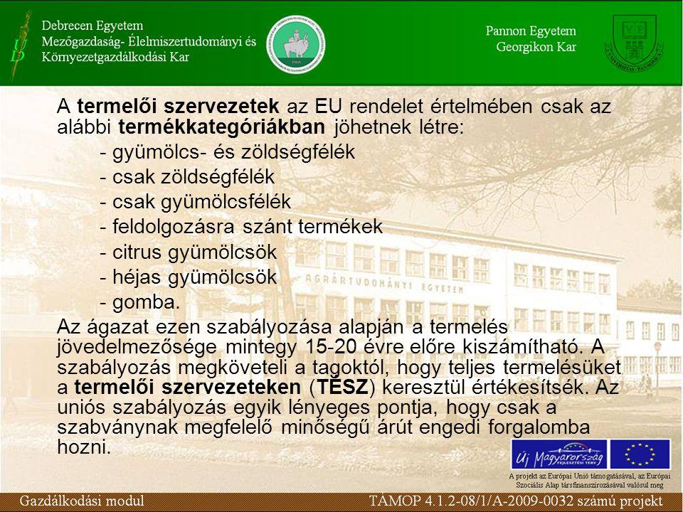 A termelői szervezetek az EU rendelet értelmében csak az alábbi termékkategóriákban jöhetnek létre: