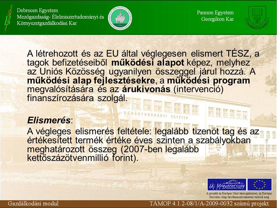 A létrehozott és az EU által véglegesen elismert TÉSZ, a tagok befizetéseiből működési alapot képez, melyhez az Uniós Közösség ugyanilyen összeggel járul hozzá. A működési alap fejlesztésekre, a működési program megvalósítására és az árukivonás (intervenció) finanszírozására szolgál.