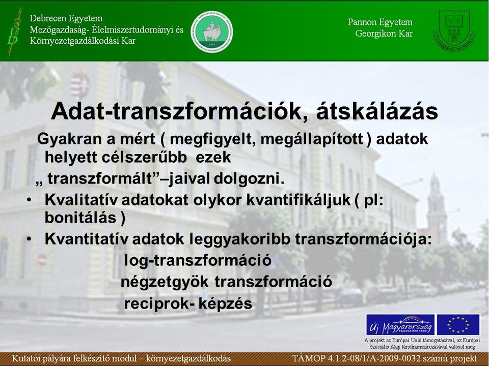 Adat-transzformációk, átskálázás