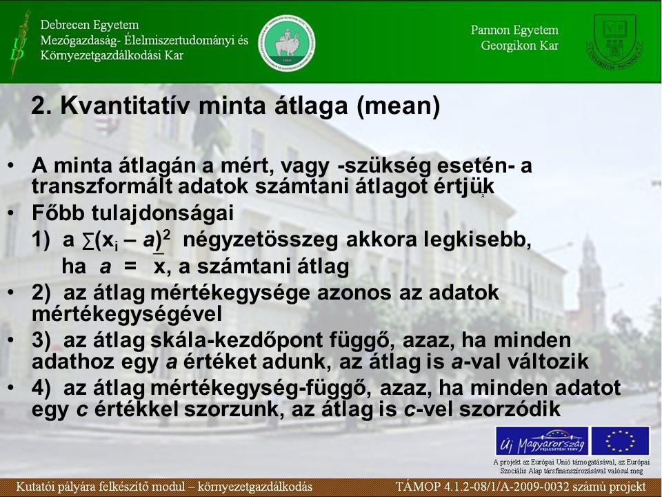 2. Kvantitatív minta átlaga (mean)