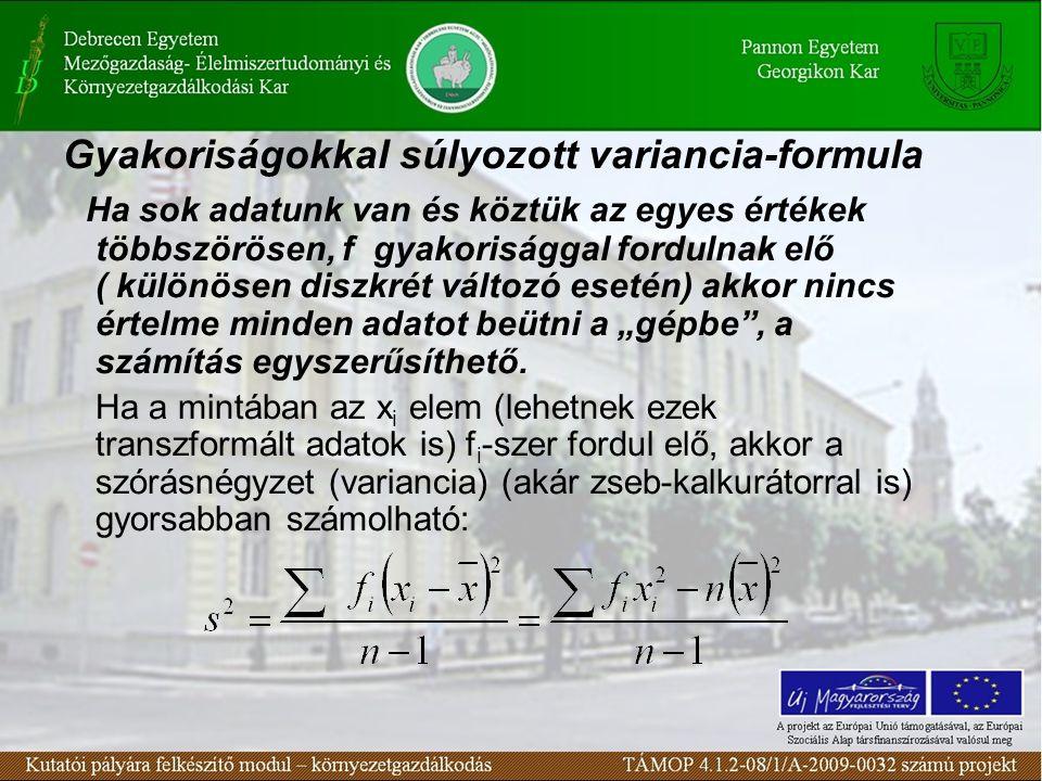 Gyakoriságokkal súlyozott variancia-formula