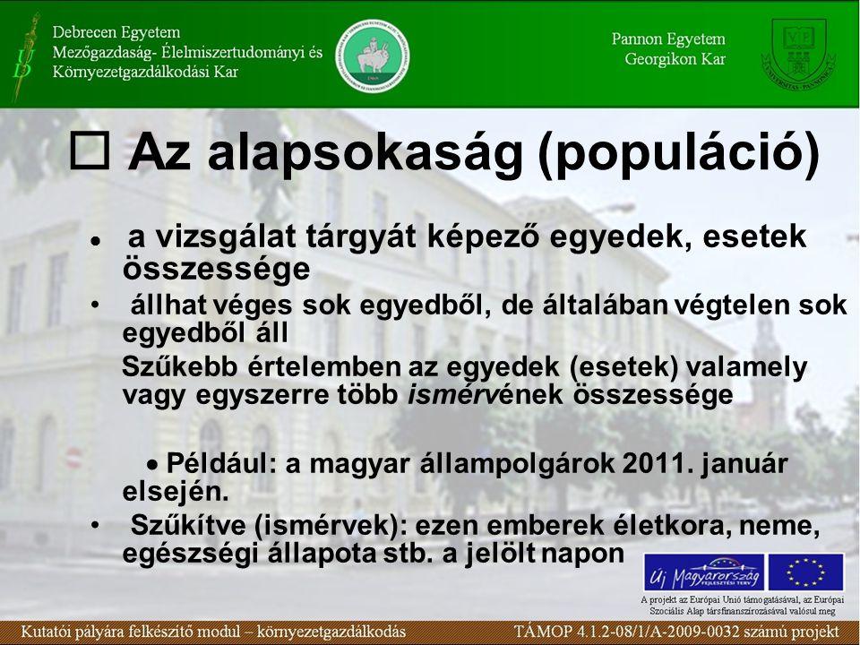  Az alapsokaság (populáció)