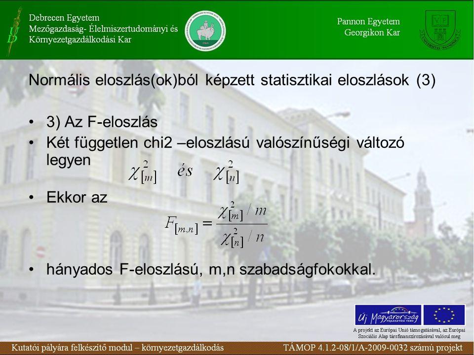Normális eloszlás(ok)ból képzett statisztikai eloszlások (3)