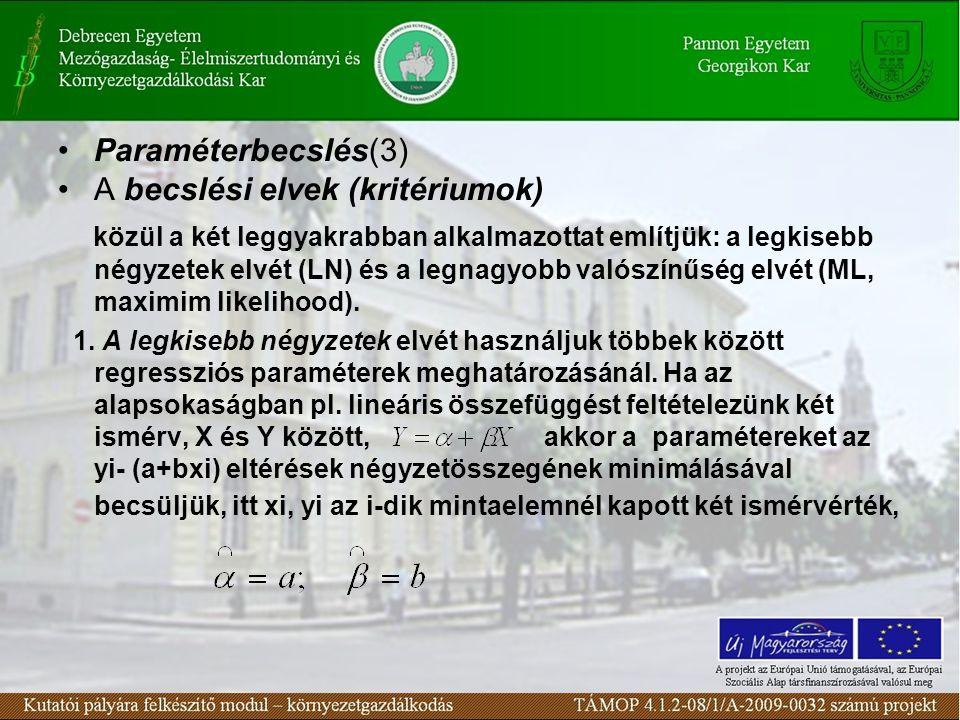 A becslési elvek (kritériumok)