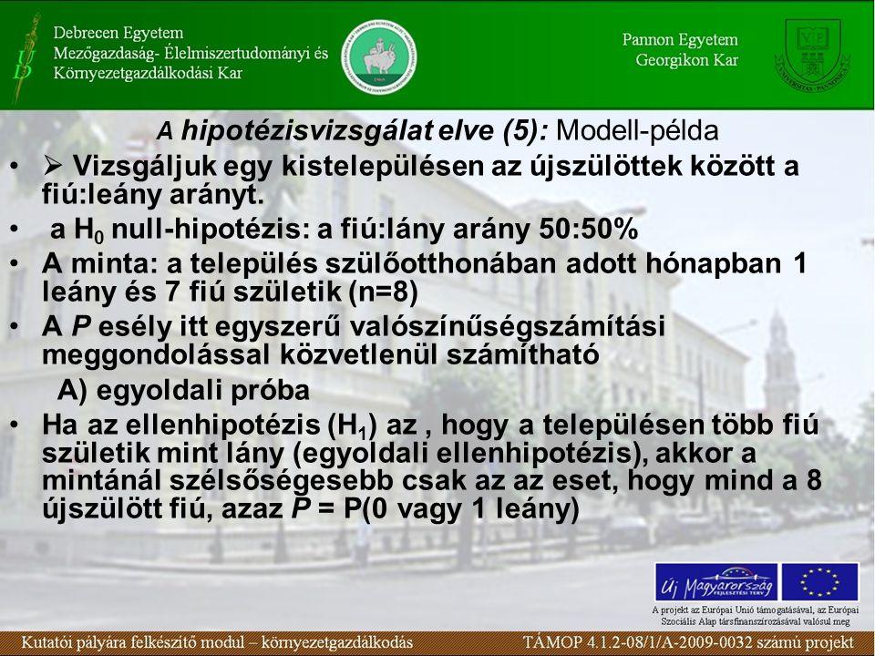 A hipotézisvizsgálat elve (5): Modell-példa