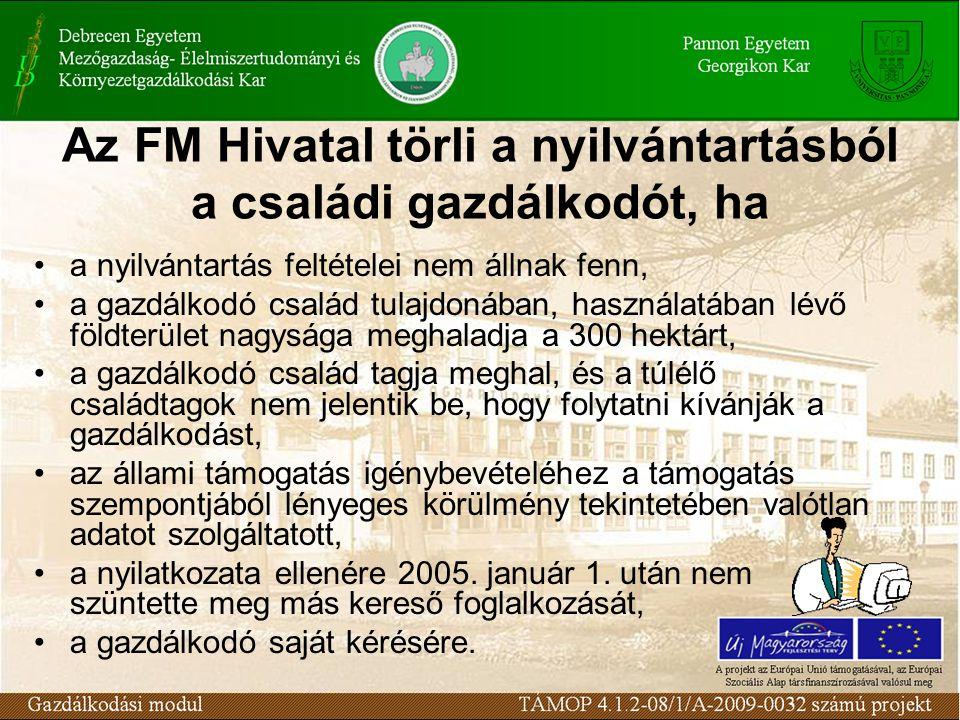 Az FM Hivatal törli a nyilvántartásból a családi gazdálkodót, ha