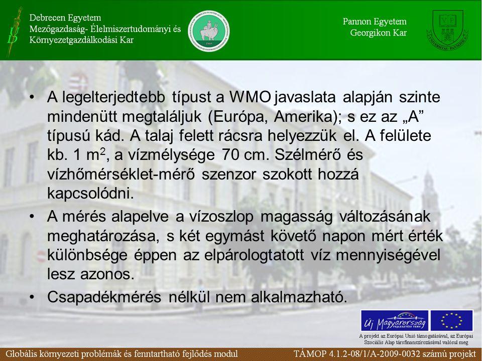 """A legelterjedtebb típust a WMO javaslata alapján szinte mindenütt megtaláljuk (Európa, Amerika); s ez az """"A típusú kád. A talaj felett rácsra helyezzük el. A felülete kb. 1 m2, a vízmélysége 70 cm. Szélmérő és vízhőmérséklet-mérő szenzor szokott hozzá kapcsolódni."""