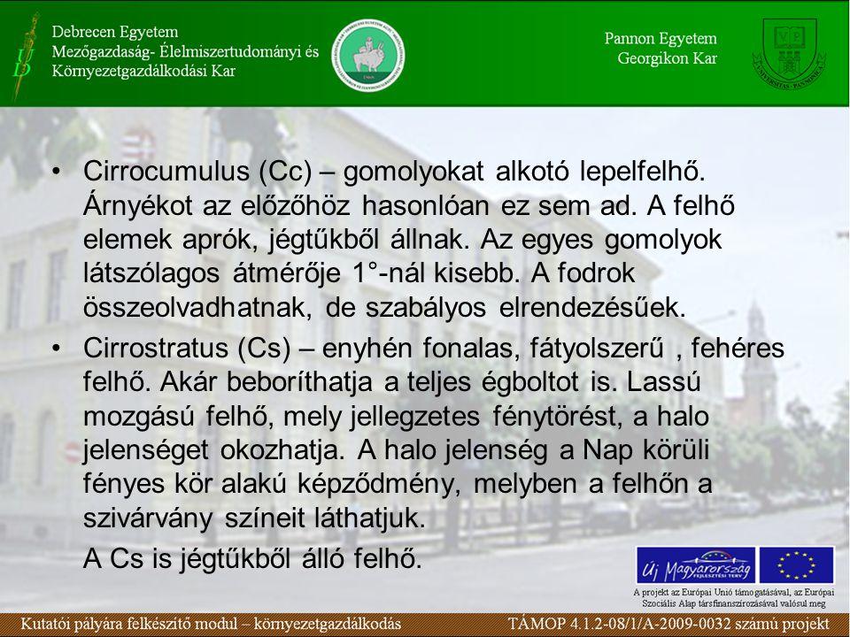 Cirrocumulus (Cc) – gomolyokat alkotó lepelfelhő
