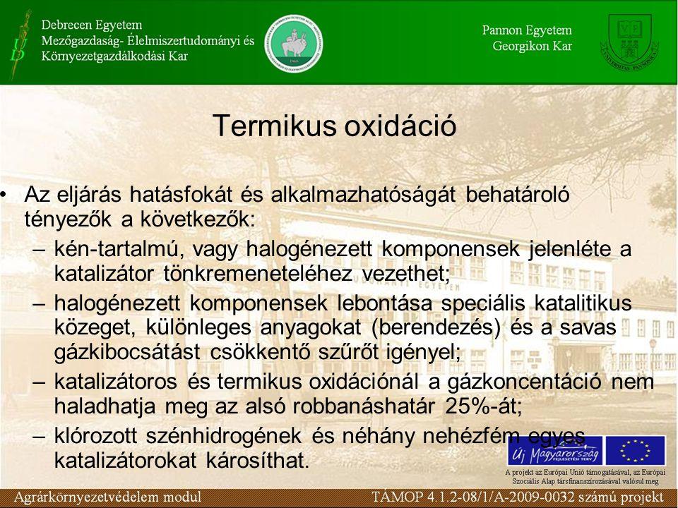 Termikus oxidáció Az eljárás hatásfokát és alkalmazhatóságát behatároló tényezők a következők: