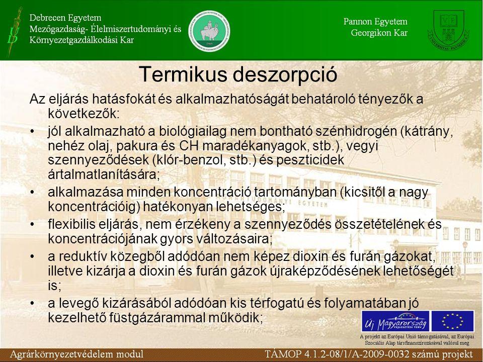 Termikus deszorpció Az eljárás hatásfokát és alkalmazhatóságát behatároló tényezők a következők:
